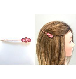 The Vintage Crystal Hair Clip Bright Pink